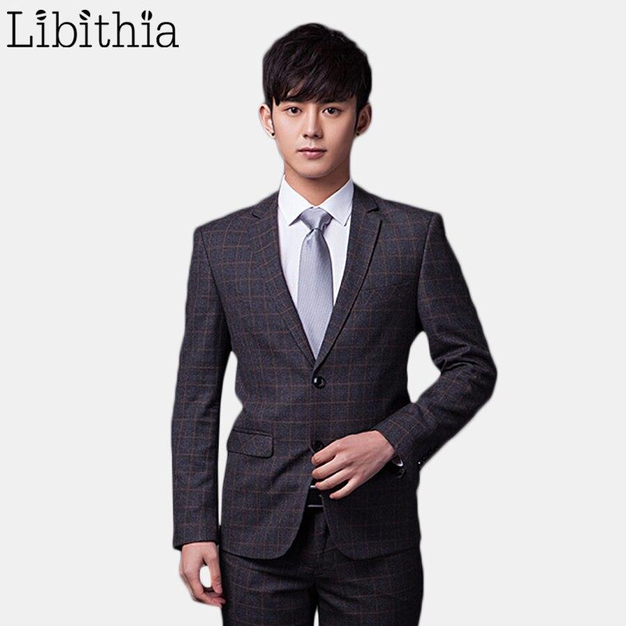 (Jakcet+Pant+Tie) Mens Casual Two Buttons Plaid Blazer Suits Slim Fit Work Wedding Suits For Men XS-3XL Clothes Male