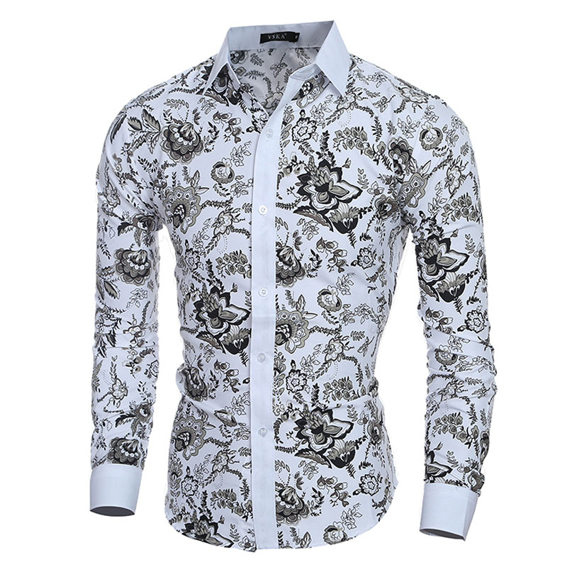 6a1832dd2bcfa Camisas elegantes para hombre con estampados florales y elegantes Camisas  de manga larga ajustadas para hombre Camisas sociales informales Masculinas  ...