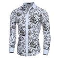 Elegant Noble Floral Prints Men Shirt Fashion Mens Shirts Long sleeve Slim Fit Casual Social Camisas Masculinas Chemise homme