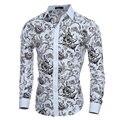 Elegante Noble Floral Prints Moda Homens Camisa Dos homens Camisas de manga Comprida Casual Slim Fit Camisas Sociais Masculinas Chemise homme