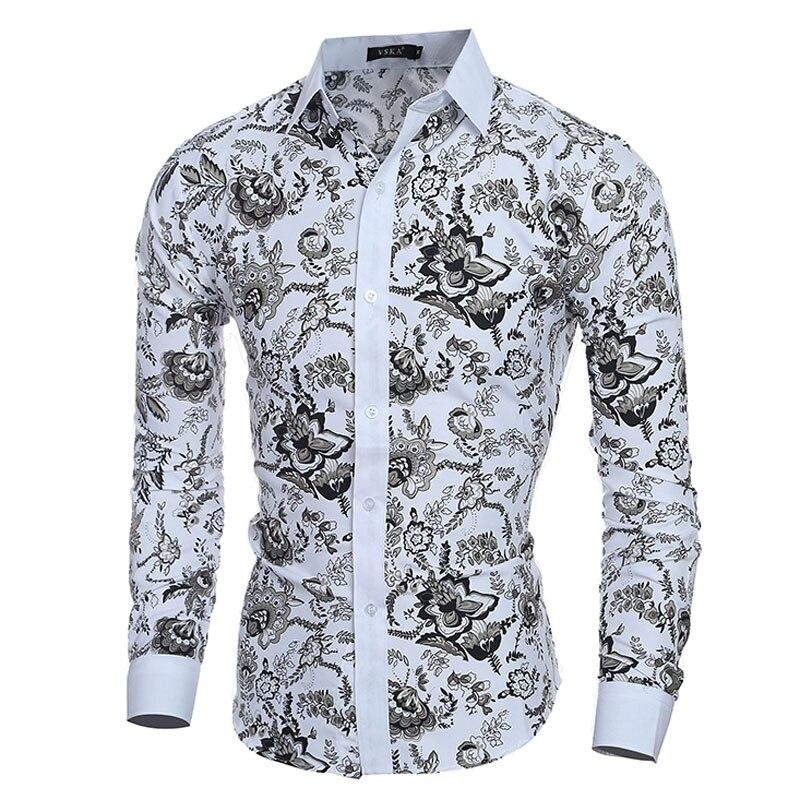 € 11.6 |Elegante Noble Floral impresiones hombres camisa moda hombres Camisas manga larga Slim Fit Casual Social Camisas Masculinas Chemise homme in