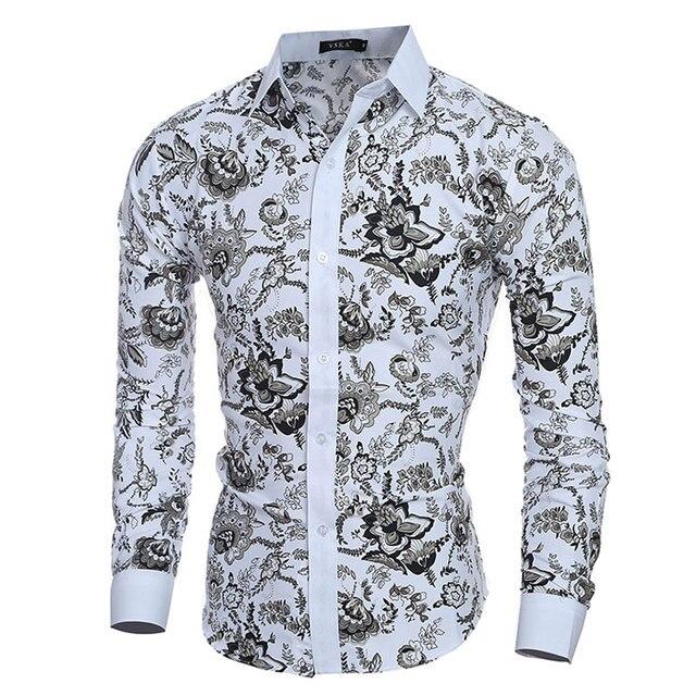 Elegante noble floral imprime hombres moda mens Camisas
