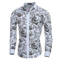 Elegant Noble Floral Prints Men Shirt Fashion Mens Shirts Long Sleeve Slim Fit Casual Social Camisas