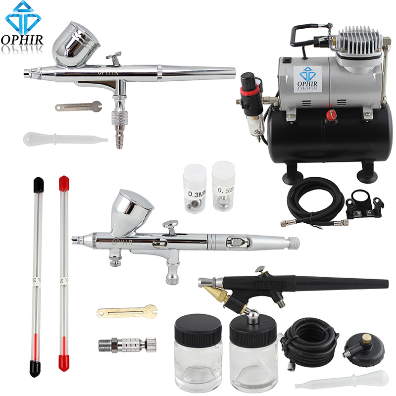OPHIR 3-Airbrushes Dual Action& Single Action Airbrush Compressor with Air Tank for Nail Art Body Paint Model_AC090+004A+071+070 ophir 0 3mm 0 35mm 0 8mm 3 airbrush gun with air compressor for model hobby body paint tattoo cake decoration ac089 004a 071 072