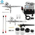 OPHIR 3-Airbrushes Dual Action& Single Action Airbrush Compressor with Air Tank for Nail Art Body Paint Model_AC090+004A+071+070