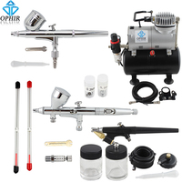 OPHIR 3 Airbrushes Dual Action& Single Action Airbrush Compressor with Air Tank for Nail Art Body Paint Model_AC090+004A+071+070