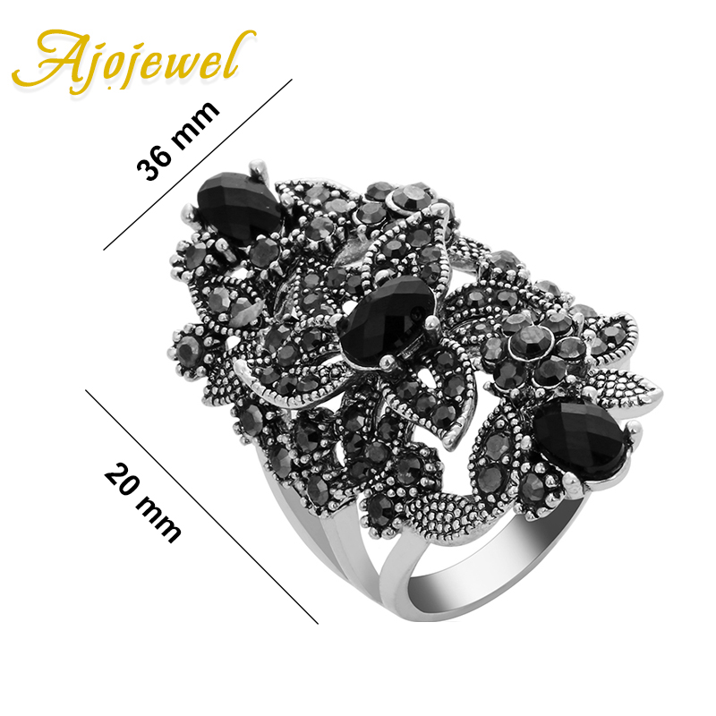 Ajojewel Black Crystal Rhinestone Flower Jewelry Vintage Retro Ring - Сәндік зергерлік бұйымдар - фото 6