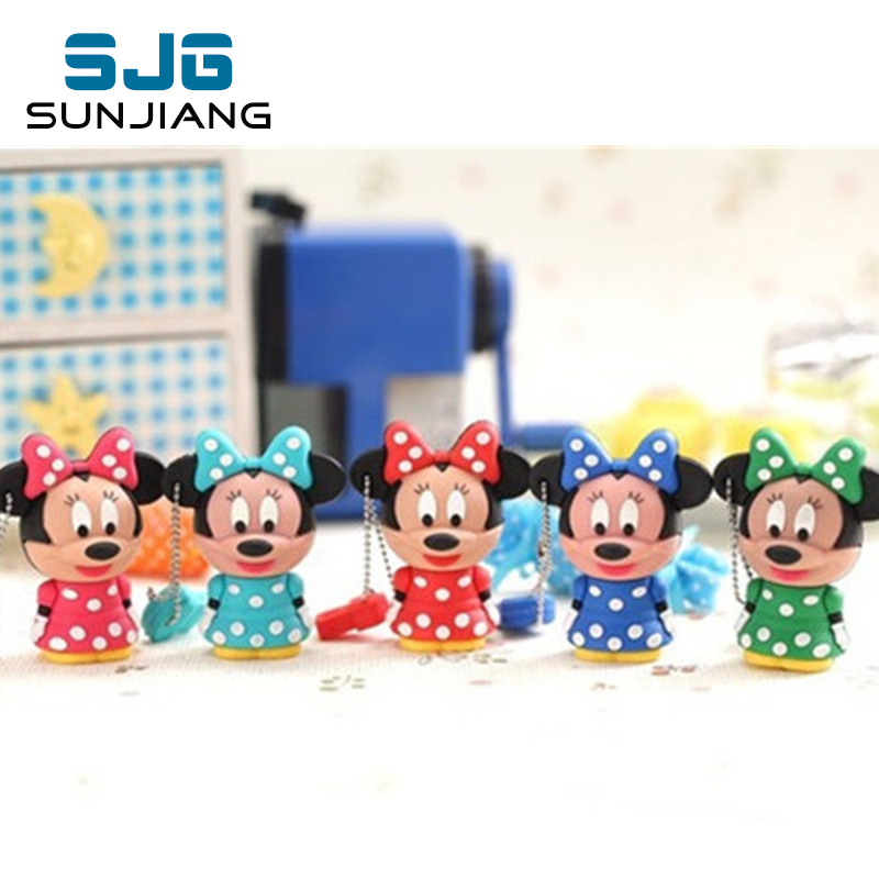 HOT SALE Pen Drive  Cartoon Minnie Shape Usb Flash Drive 64gb 8gb 16gb 32gb 6gb Memory Disk Stick Pendrive Gift For Girl Lovely