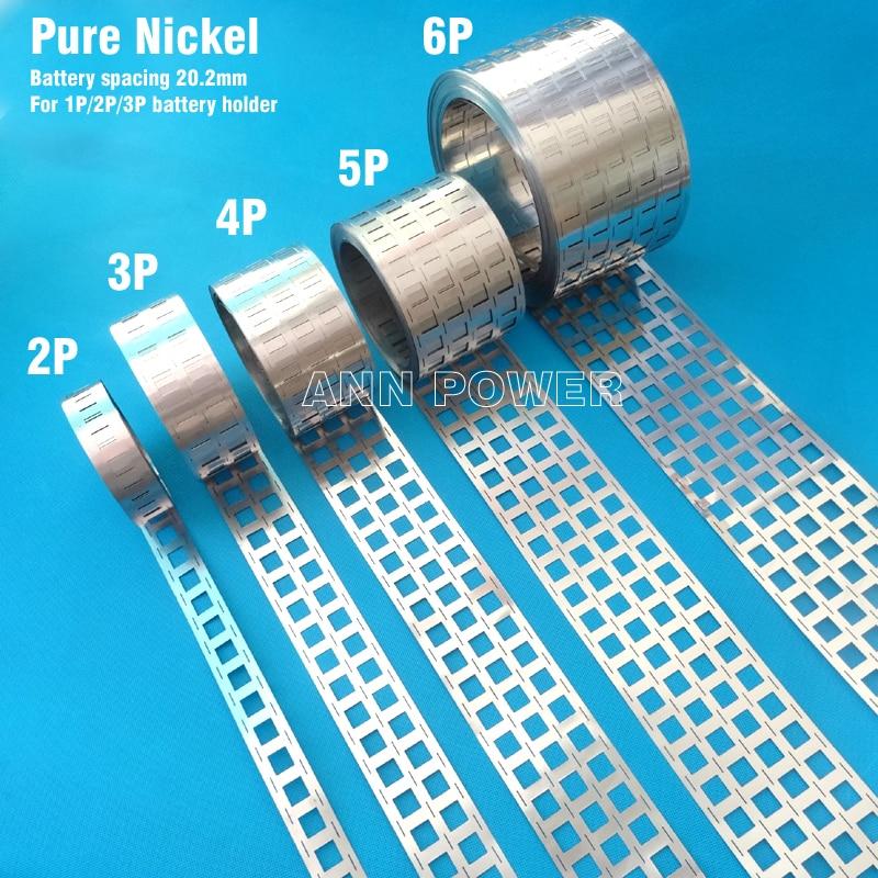 Bande de nickel de batterie de li-ion de l'onglet 18650 de nickel pur de 1 mètre, espacement de cellules 20.2mm, courroie de Ni de batterie, bande de nickel de barre omnibus de batteries d'ev