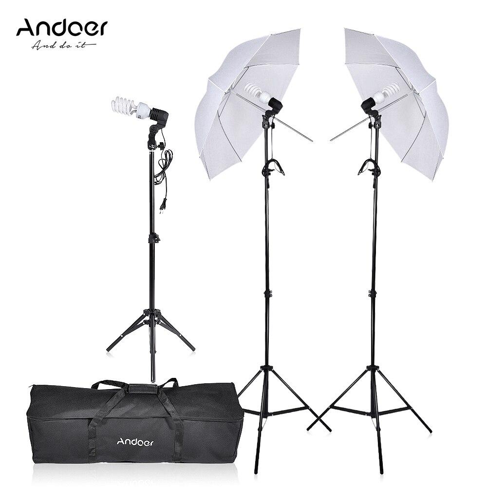 Photography Video Portrait Umbrella Continuous Triple Lighting Kit Three Bulbs E27 Swivel Socket Stand Umbrellas Carrying