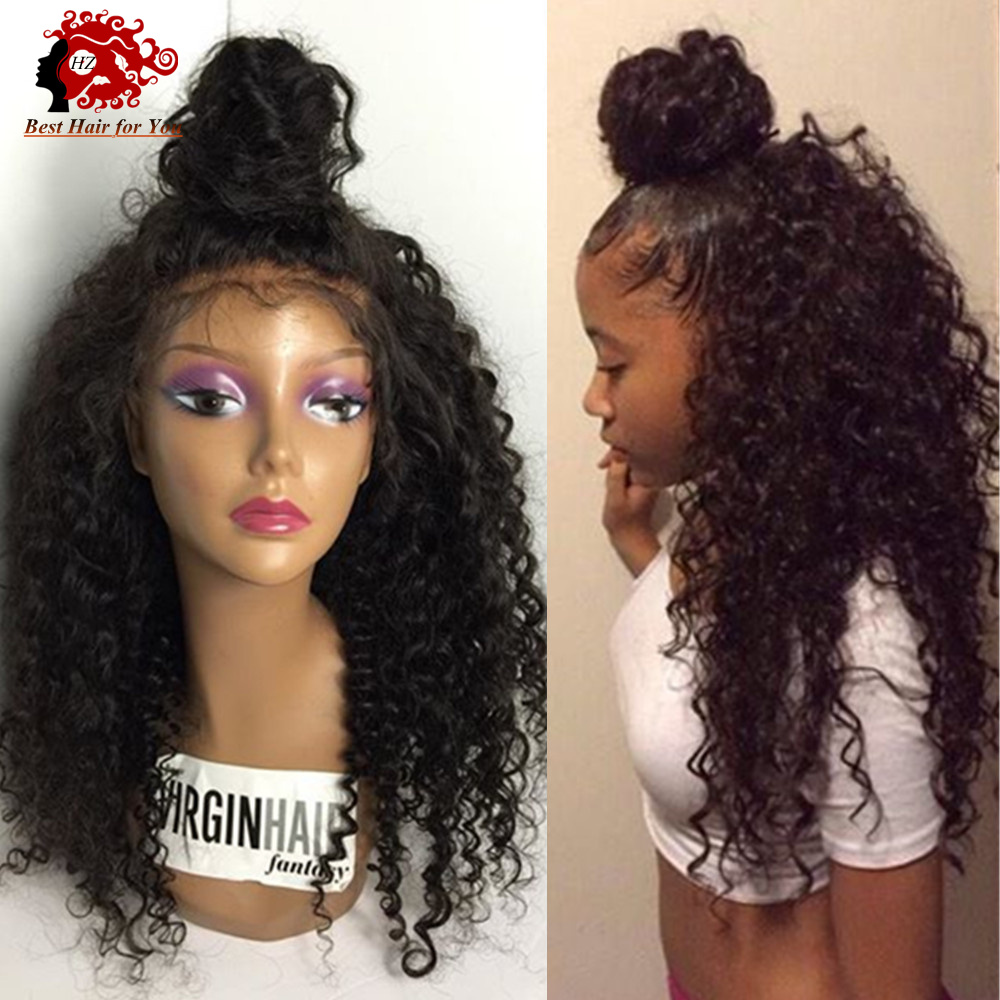 Virgin Brazilian Kinky Curly Full Lace Wigs With High 150