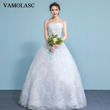 VAMOLASC Pleat Strapless Lace Appliques Ball Gown Wedding Dresses Off The Shoulder Crystal Backless Bridal Gowns