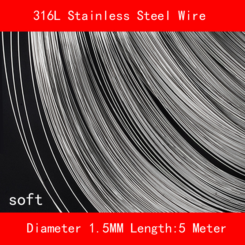 316L Stainless steel wire soft Diameter 1.5mm Length 5 meter 0 8mm 304 stainless steel wire bright surface diy materialhard steel wire cold rolled