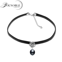 Fashion leather necklace women,trendy choker necklace with natural freshwater pearl pendant party gift все цены
