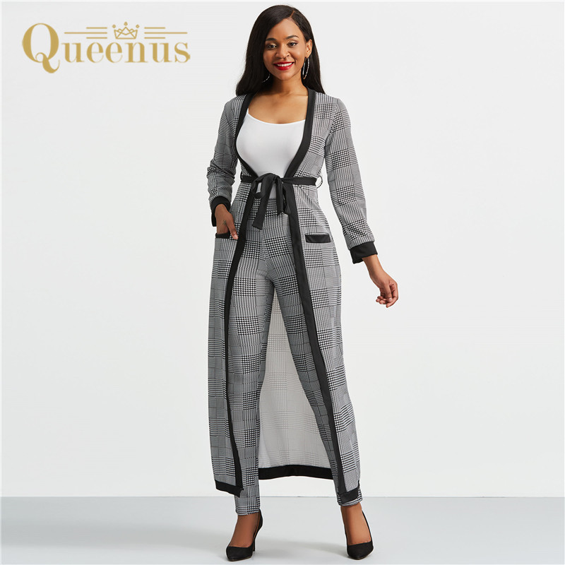 Women's Suits Houndstooth Trench Coat and Vest, Pant Long Sleeve Patchwork Two Piece Sets Women Patchwork Pocket Suit OL Suit