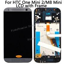 HTC Bir Mini 2 Ekran dokunmatik ekran digitizer için Çerçeve ile HTC One Mini 2 LCD M8 Mini Ekran Değiştirme