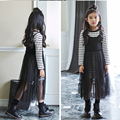girls kids dress clothing sets spring fall 2017 long striped t shirts tops sleeveless dress girl maxi long dress sets