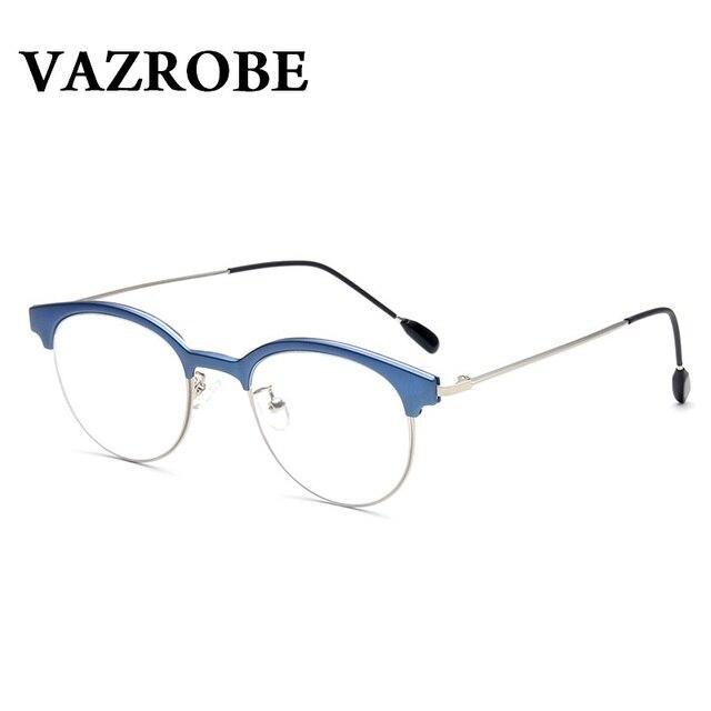 151fea275f6 Vazrobe Vintage Eyeglasses Frame Men Women Retro Round Oval EyeGlasse for  Female Small Face Half Rim Optical Lens Nerd Eyewear