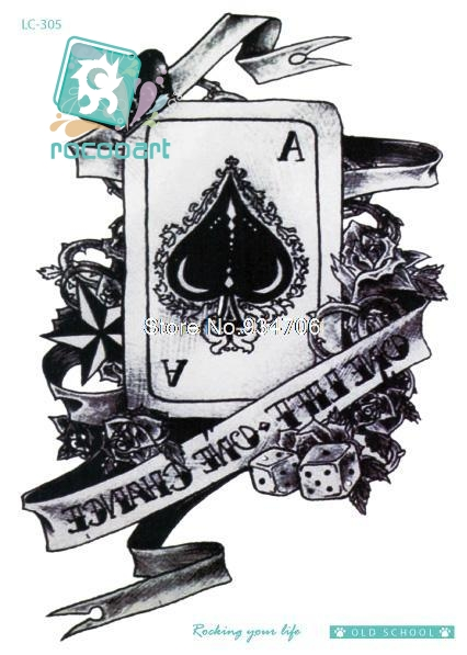 Rocooart LC-305 21*15cm Vintage Poker Large Tatoo Sticker Classical Black White Factory Design Cool Temporary Tattoo Stickers