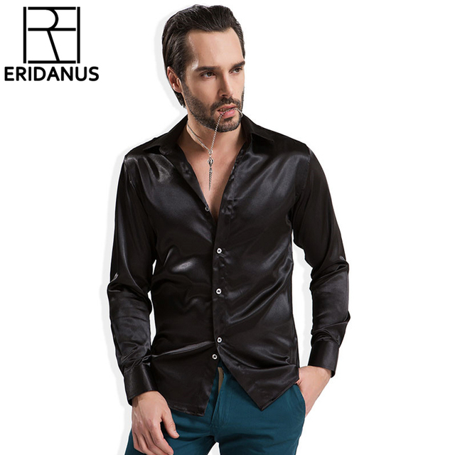 2016 Men Casual Silk Shirt Spring New Arrival Fashion Colorful Long Sleeve European Style Thin Breathable Dress Shirts 4XL M027