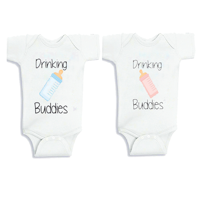 Culbutomind Drinking Buddies Twins Baby Clothes Summer Short Sleeve Cotton Twin Matching Set Newborn Twins Baby Bodysuits