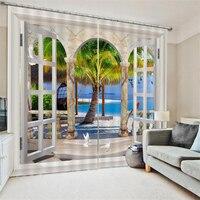 Waterproof 3D Door Window Curtain 2Pcs/Set Panel Sheer Bedroom Valance Dividers Home Decoration Textiles Accessories 166x75cm