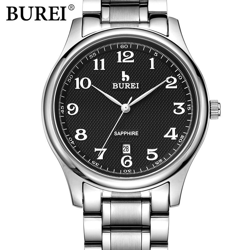 BUREI Brand Silver Stainless Steel men Sports Watch Fashion Business Luxury Man wristwatch relogio masculino Male Casual watch stainless steel cuticle removal shovel tool silver