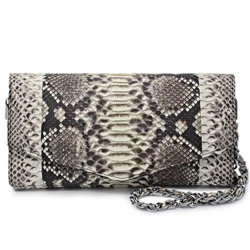930e29ac562 100% Genuine Python Skin Leather Women Clutch Envelop Purse Natural  Snakeskin Female Small Single Shoulder Bag Ladies Sling Bag