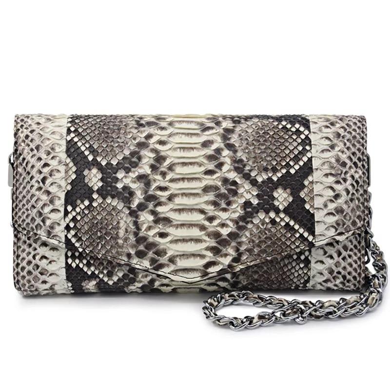 100% Véritable Peau de Python En Cuir Femmes D'embrayage Enveloppe Sac À Main Serpent Naturel Femelle Petit Sac D'épaule Simple Dames Sling Bag