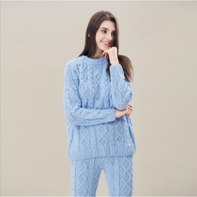 545388cbde 2019 Winter Brand Homewear Girl Casual Fashion Pajama sets Women Solid  Wheeling Sleepwear suit Female Long sleeve shirts +pants