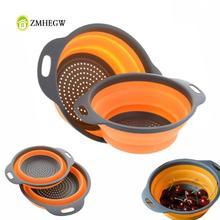 מתקפל סיליקון מסננת פירות ירקות כביסה סל מסננת מסננת מתקפל מייבש עם ידית מטבח כלים