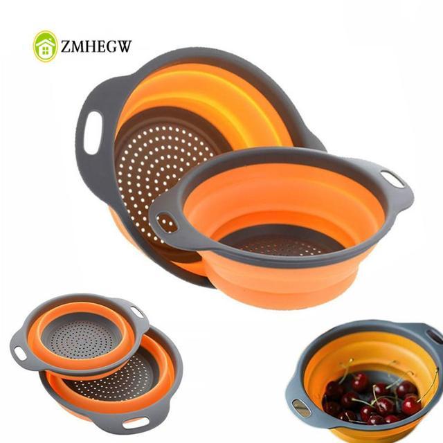 Colador plegable de silicona para frutas y verduras, cesta de lavado, colador, escurridor plegable con utensilios de cocina con mango
