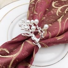 5PCS pearl Christmas deer gold / silver napkin ring metal buckle cloth