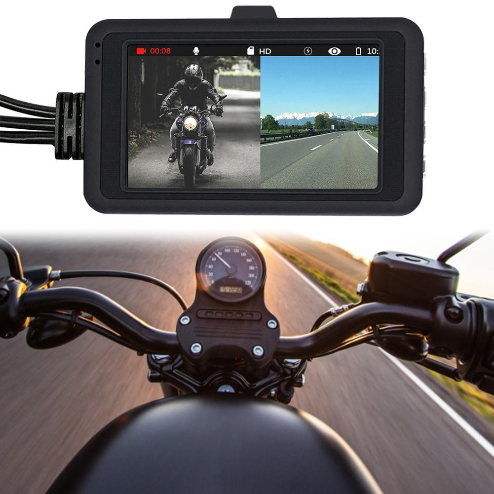 3.0 pouces 1080 P HD moto enregistreur de conduite DVR avant arrière 4 grand Angle double lentille détection de mouvement caméra tableau de bord caméra