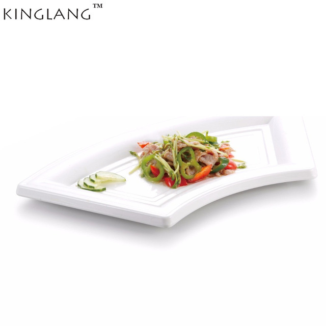 US $15 99 20% OFF|Melamine white tray fan shaped dish plate for restaurant  hotel supplier CONTON food dish-in Dishes & Plates from Home & Garden on