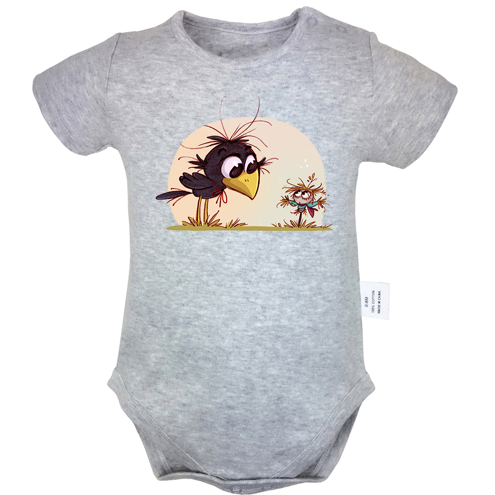 Cartoon Crow And Scarecrow Aladdin And The Magic Lamp Design Newborn Baby Bodysuit Suit Toddler Onsies Jumpsuit Cotton Clothes