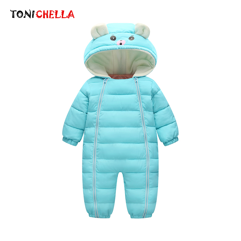 Winter Jumpsuit Outwear Overall Girls Romper Clothing Warm Infant Thick Cotton Hooded
