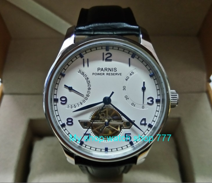 43mm Parnis Automatic Self-Wind Mechanical movement Power Reserve Mechanical watches Men's watches wholesale gql036 parnis 43mm black dial automatic self wind movement power reserve men s watch mechanical watches wholesale gl17a