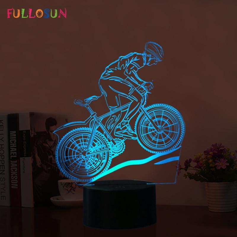 Fullosun USB LED 3D Lamp MTB Mountain Bike 3D Night Lights 7 Colors Moon Lamp as