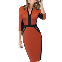 Plus Size Front Zipper Women Elegant Stretch Dress