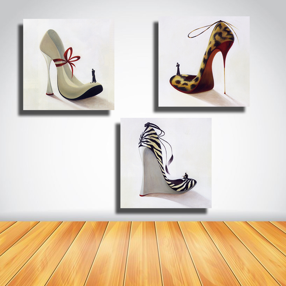 QKART Cuadros Decorativos 3 Piezas High Heeled Shoes Oil Painting Wall  Pictures For Living Room Bedroom Home Decorations