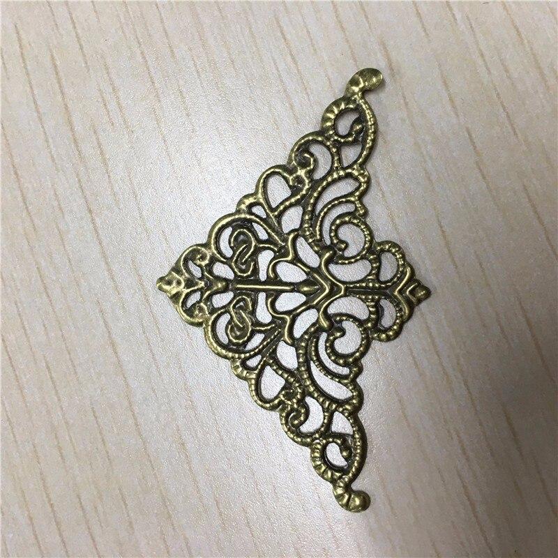 Filigree Triangle Flower Wraps Cabochon Ancient Bronze Flatback Metal Embellishments Scrapbooking For DIY,5cm*3.2cm,100Pcs