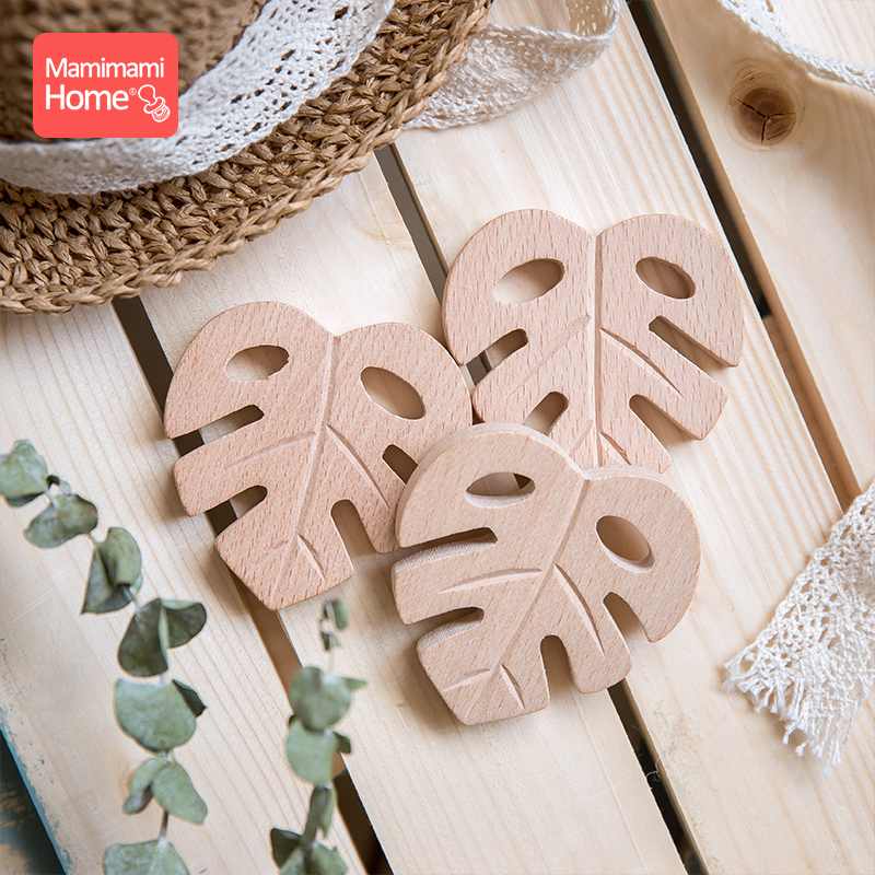 1/2PC Baby Wooden Teether Beech Leaf Shape Wooden Rodent Blank Tiny Rod DIY For Nursing Bracelets/Necklace Children'S Goods Toys