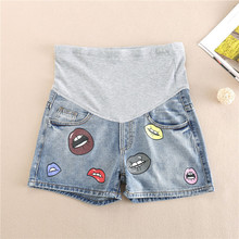 купить Pregnant Woman Cowboy Shorts Embroidered maternity denim Pants pregnancy Clothes Summer Thin jeans Pants femme enceinte clothing дешево