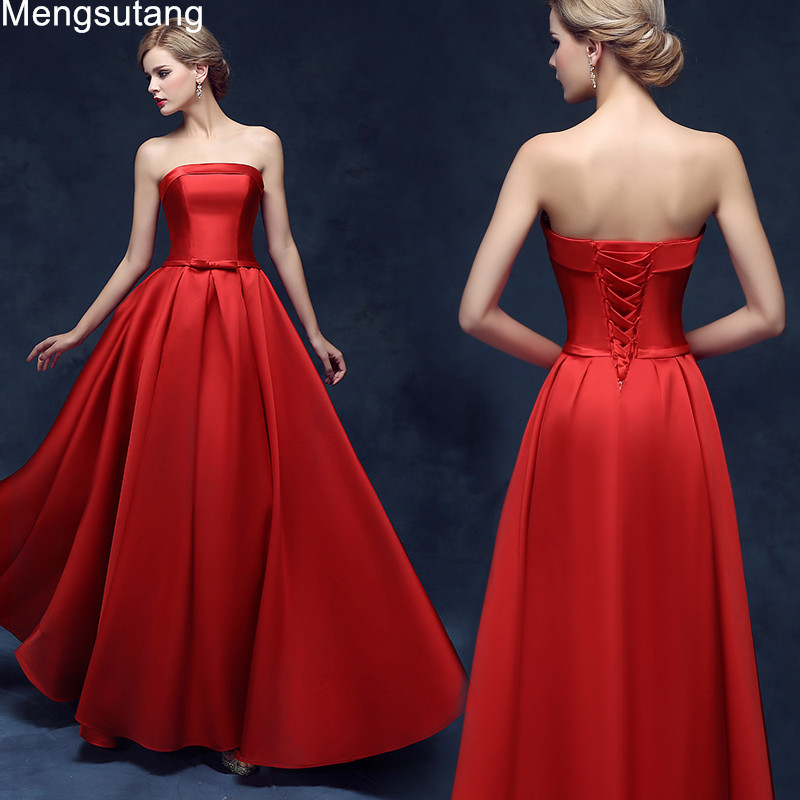 Robe de soiree 2019 New arrival elegant   evening     dress   prom party   dresses   A-line satin strapless lace-up off the shoulder   dress