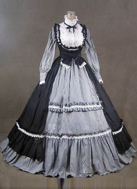 18th century fashion black gray short shipping ruffles rococo georgian period dress in dresses. Black Bedroom Furniture Sets. Home Design Ideas