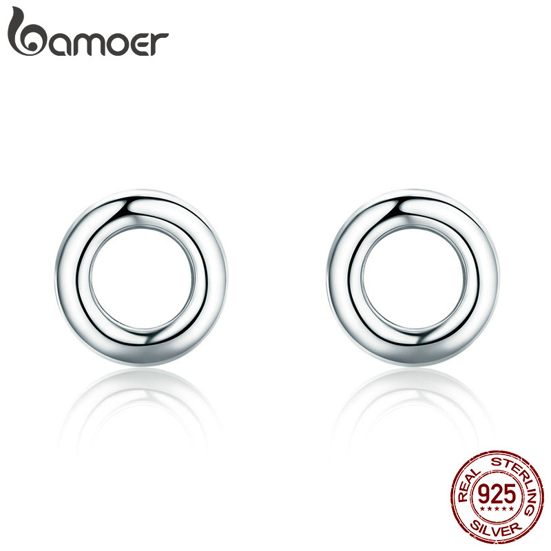 BAMOER New Arrival Fashion 925 Sterling Silver Minimalism Round Circle Stud Earrings for Women Sterling Silver Jewelry SCE349-1H цена