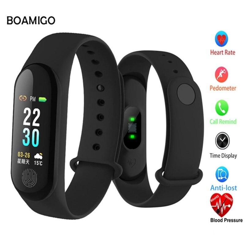 BOAMIGO Bluetooth Intelligente Della Vigilanza Donne Degli Uomini Impermeabile Chiamata di Promemoria Wristband Heart Rate Monitor Led Digital Smartwatch Braccialetto