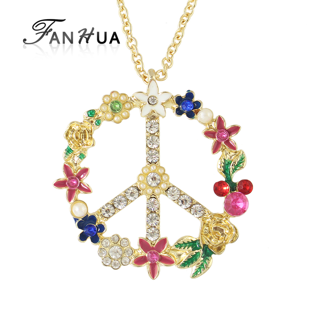 Bridal classics necklace sets mj 259 - Fanhua High Quality Jewelry Girly Necklace Colorful Enamel Crystal Vivid Pendant Circular Flower Necklace Costume Jewelry