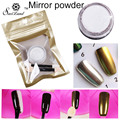 1g/Box Shinning Gold Sliver Glitter Mirror powder with 2 Brushes for Nail Gel Polish Powder Mirror Nail Art DIY Pigment